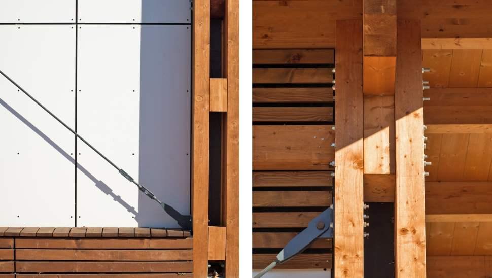 Capannone legno Salmour Cuneo - 18 esterno dettagli costruttivi - Mozzone Building System
