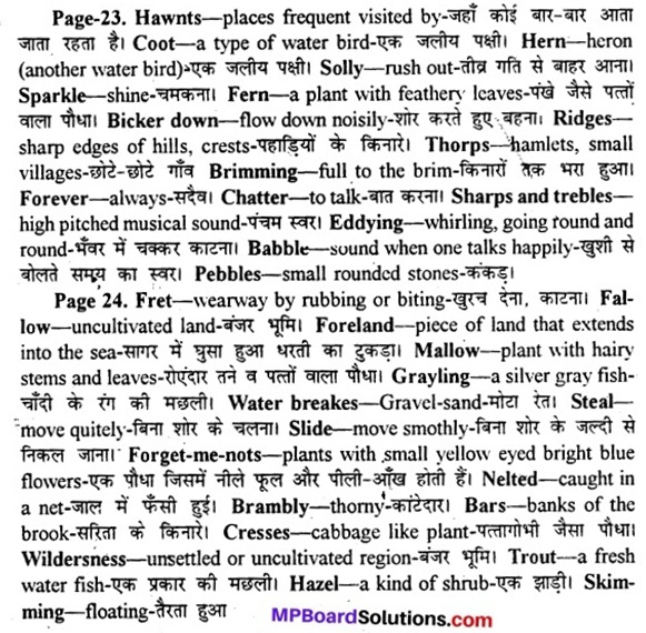 MP Board Class 11th English A Voyage Solutions Chapter 4 The Brook 1