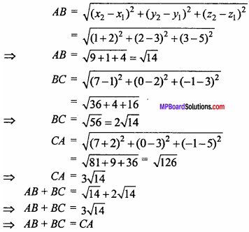 MP Board Class 11th Maths Important Questions Chapter 12 Introduction to Three Dimensional Geometry 7