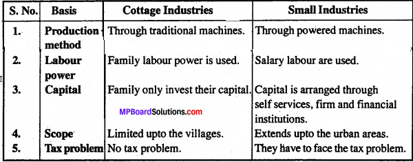 MP Board Class 11th Business Studies Important Questions Chapter 9 Small Business 2