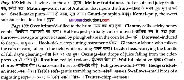 MP Board Class 12th English A Voyage Solutions Chapter 15 To Autumn img 1