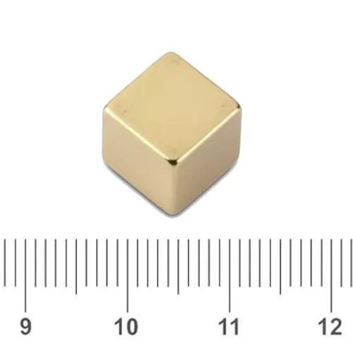 Magnet Cube Neodymium Gold Plating N48 12mm