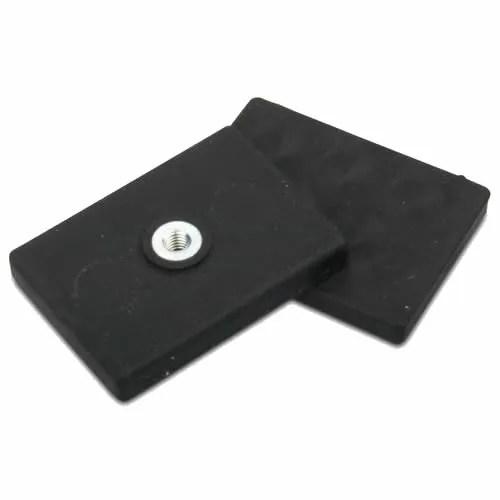 Internal Thread Rubber Coated Rectengular Base Magnet