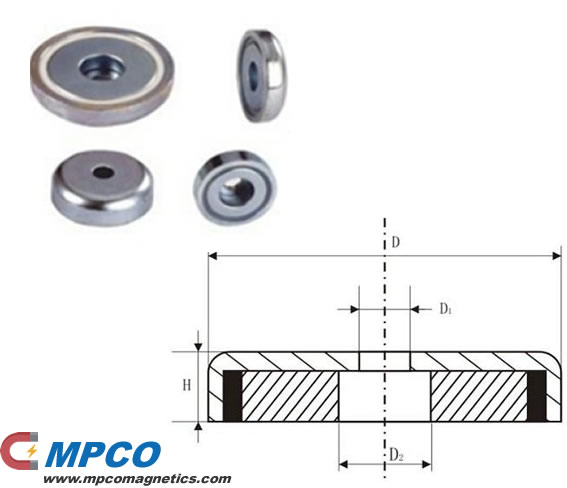NB Series powerful pot magnet with capscrew hole