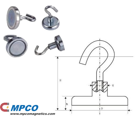 NE Series Round Base holding pot magnet with hook