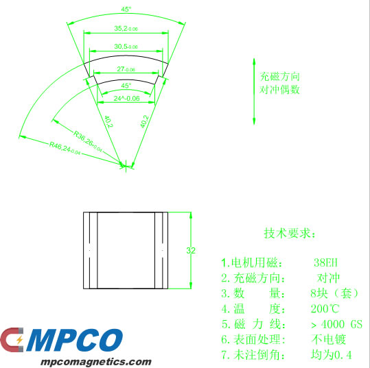 High temperature resistant 200 degree magnetic tile drawing