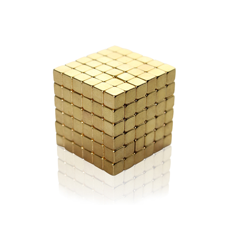 216pcs 4mm Gold Bucky Cubes Magnetic Blocks Puzzle Building Toys