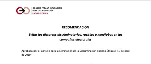 Evitar los discursos discriminatorios, racistas o xenófobos en las campañas electorales