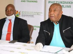 On the right is Mpumalanga Provincial Member of the Executive Committee (MEC) for Agriculture, Rural Development and Land Administration Vusi Shongwe. Photo by Anna Ntabane, CAJ News Africa