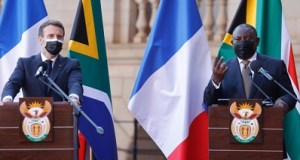 French president Emmanuel Macron being hosted by his South African counterpart Cyril Ramaphosa