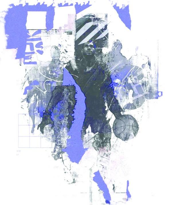 Basketball Chinese Art Print