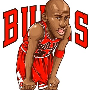 Michael Jordan 23 Cartoon Print