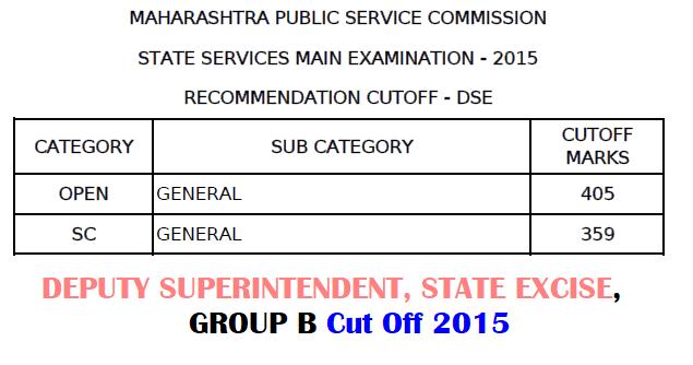 MPSC DSEB Cut Off 2015