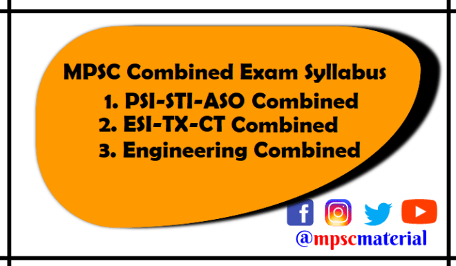 MPSC Combined Exam Syllabus 2019