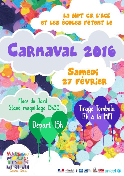 Affiche Carnaval 2016 flashy