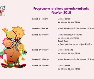 Programme ateliers parents/enfants : février 2018