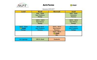 planning Activ'Forme Vacances Février
