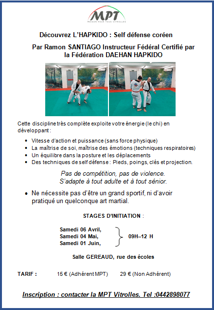 Stage Hapkido 6 avril