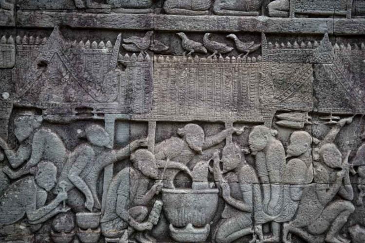 巴揚寺牆上中國人浮雕