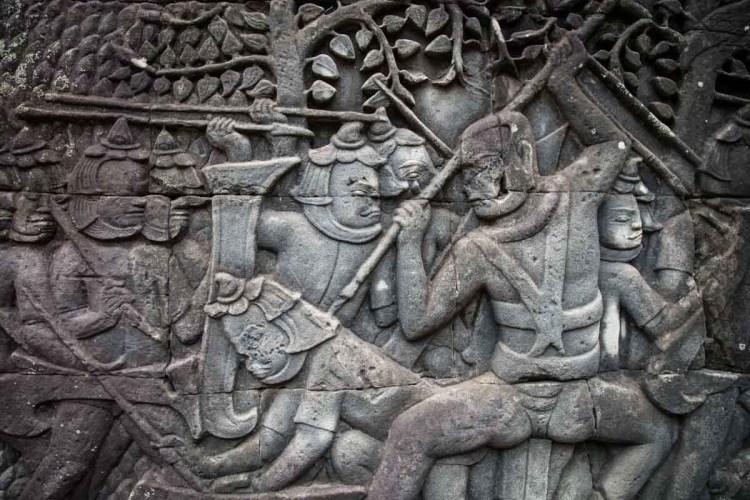 占婆人與高棉人作戰浮雕