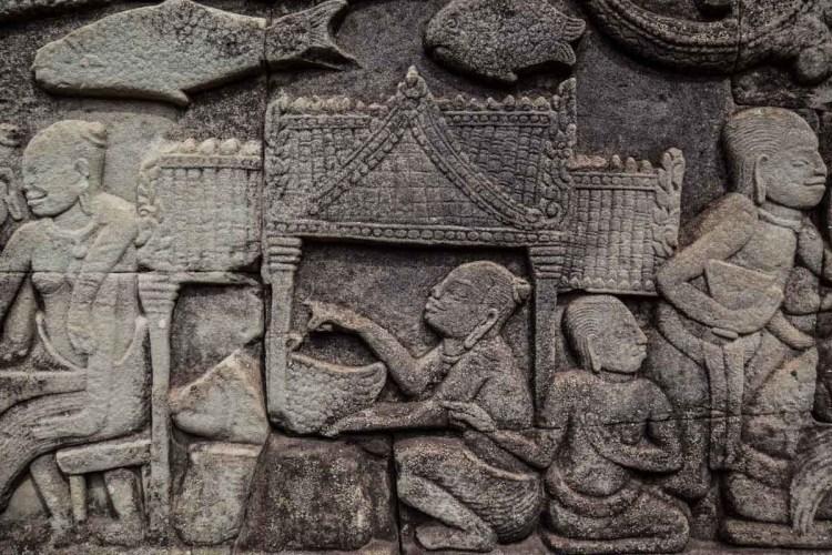 高棉人日常生活浮雕