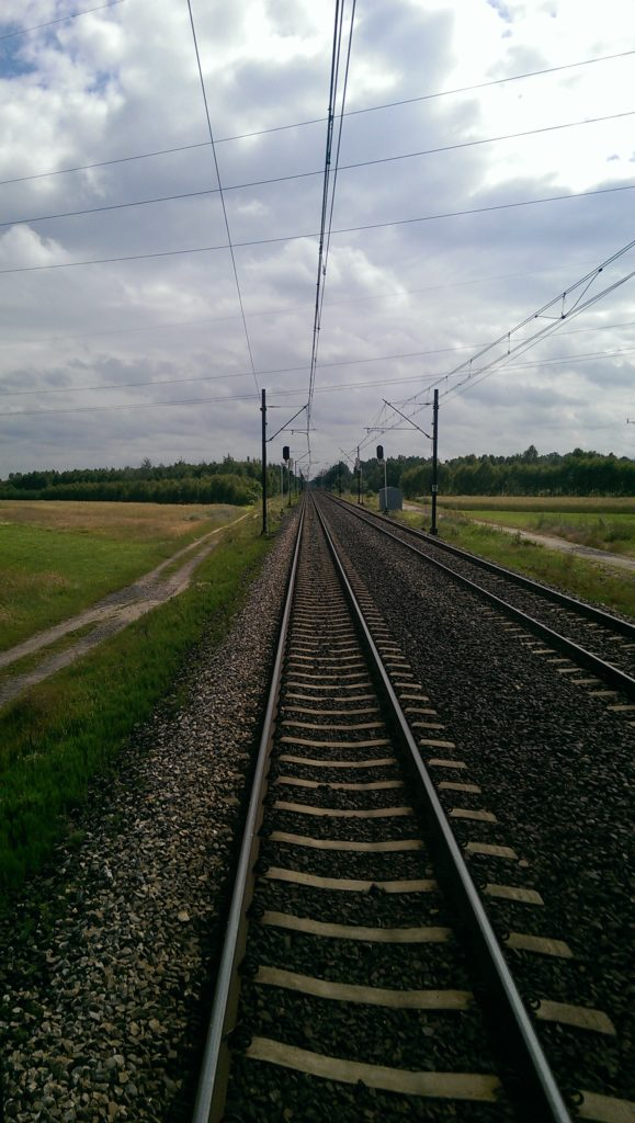 View out the back of a train