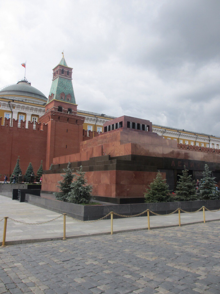 Lenin's Mausoleum with The Kremlin behind it - Red Square, Moscow