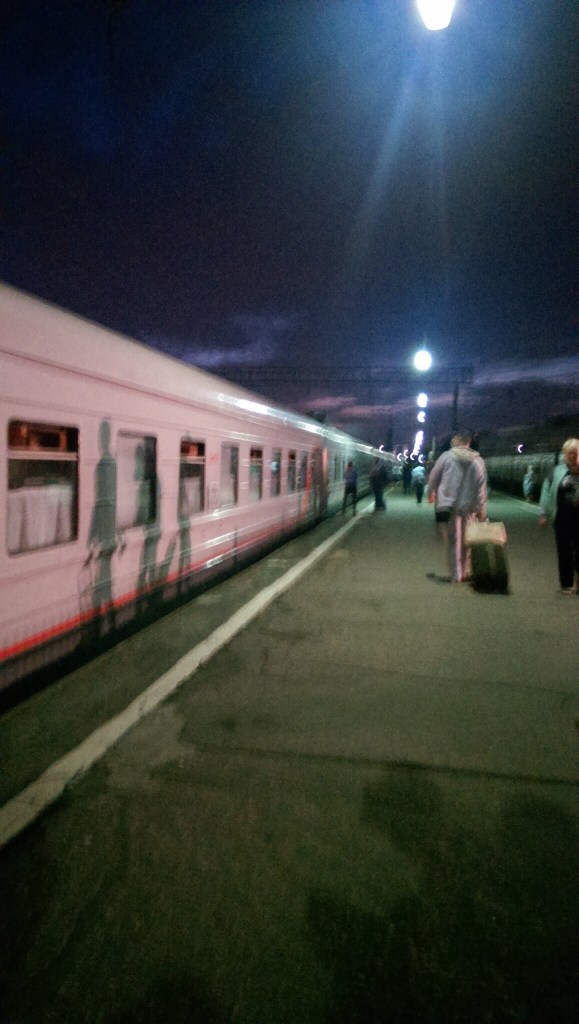 Boarding the Trans-Siberian Railway in Moscow, at about midnight