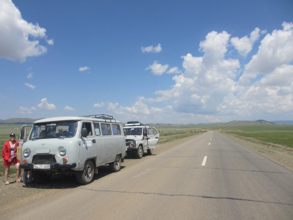 The old Russian vehicles for our Gobi Desert adventure!