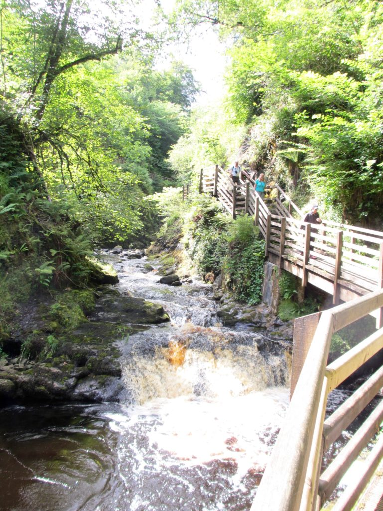 Boardwalk around waterfalls at Glenariff