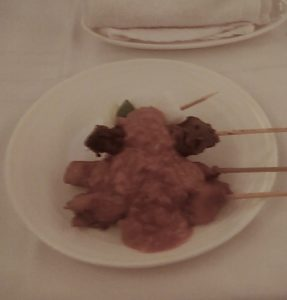 Chicken Skewers on MAS Business Class