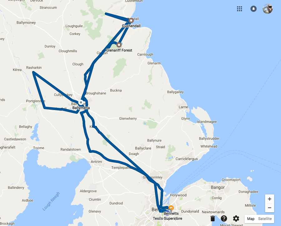 Our route to Glenariff and surrounds - according to Google Location History