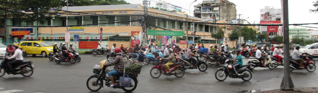 Crossing the road can be a challenge in Vietnam!