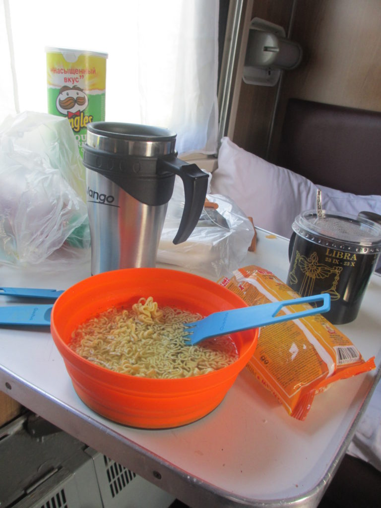 My breakfast while on the Trans-Siberian - instant noodles and coffee from a sachet
