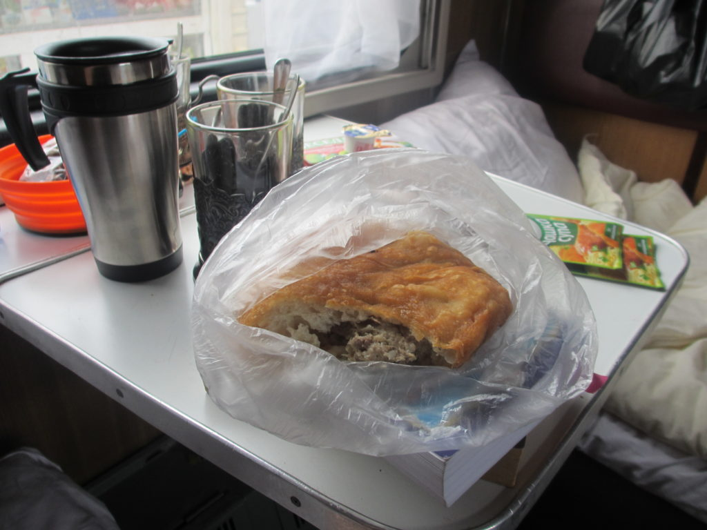 Mystery bread! Lunch aboard the Trans-Siberian