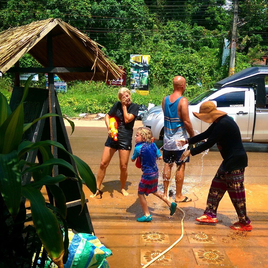 Some Cozy Guesthouse staff and guests enjoying a Songkran waterfight!