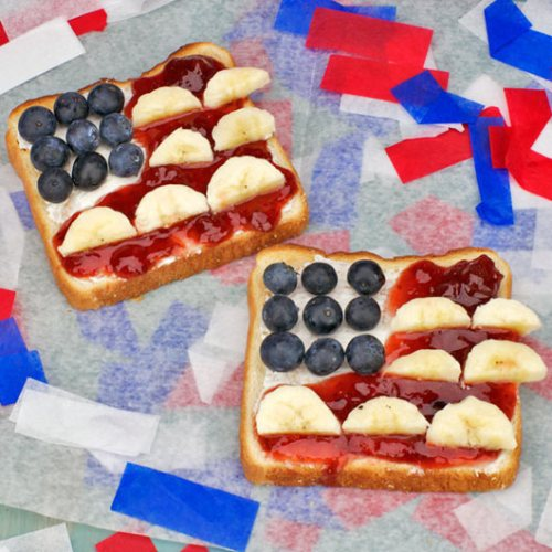 American Flag Fruit Toast red white and blue Breakfasts