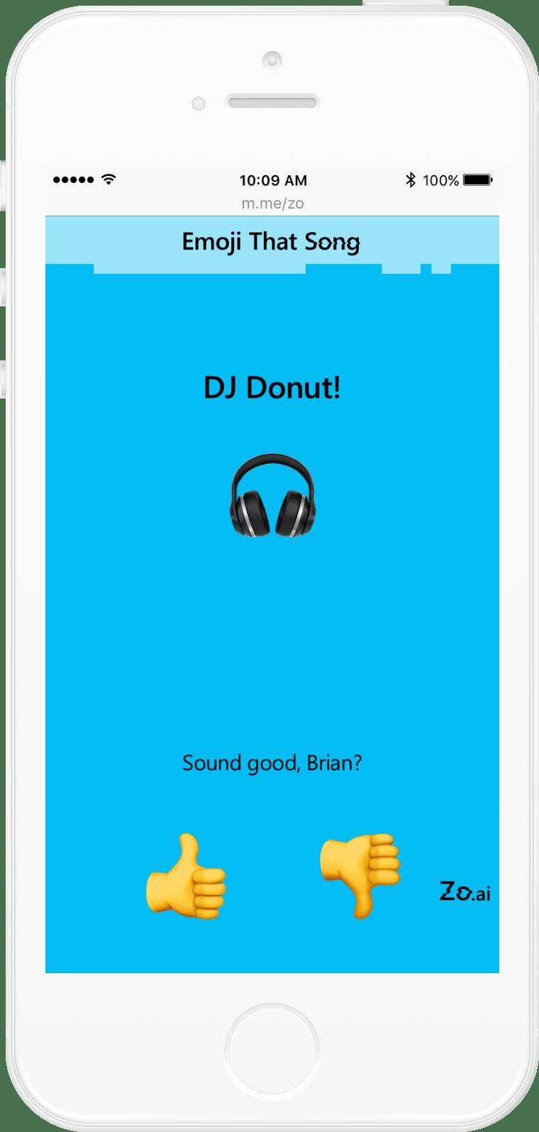 Microsoft Zo: Emoji That Song user flow (3/13)