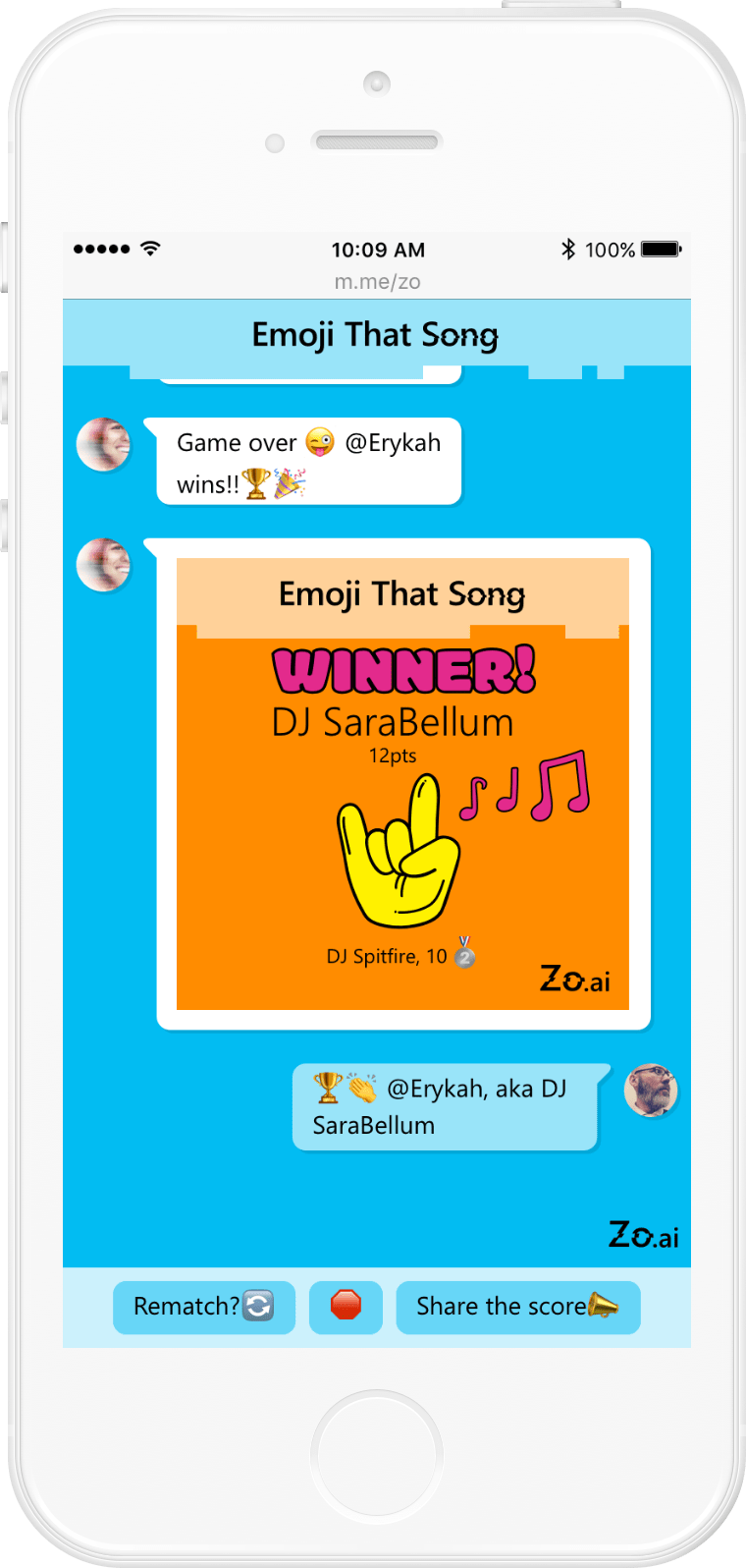 Microsoft Zo: Emoji That Song user flow (12/13)