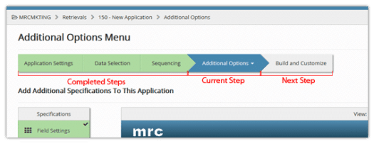 A progress bar gives the user context as they navigate through a multi-screened web application.