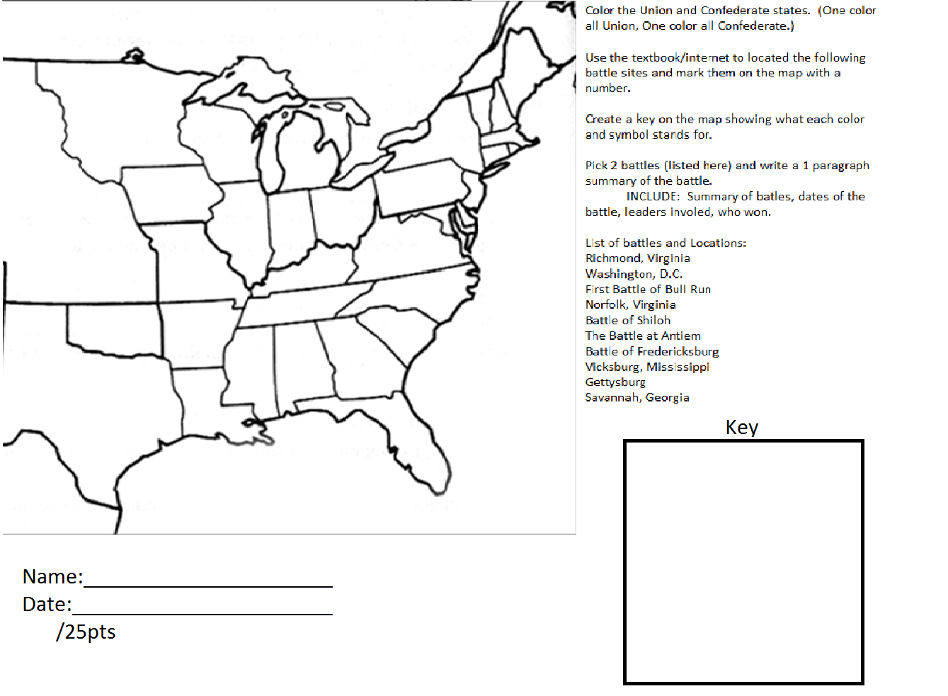 Second Grade Vocabulary Worksheet Civil War