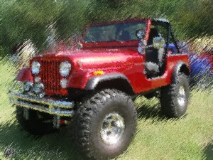 "This image was created by masking off the jeep, using the ""Doublebrush"" filter, inverting the selection and then applying ""Doublebrush"" with different angle settings."