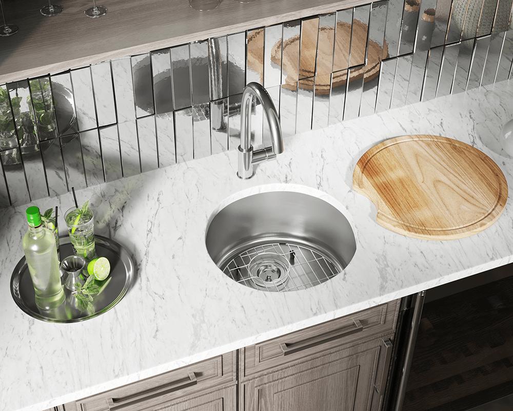 465 circular stainless steel bar sink