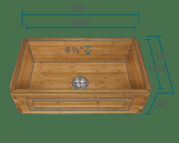 895 single bowl bamboo apron sink