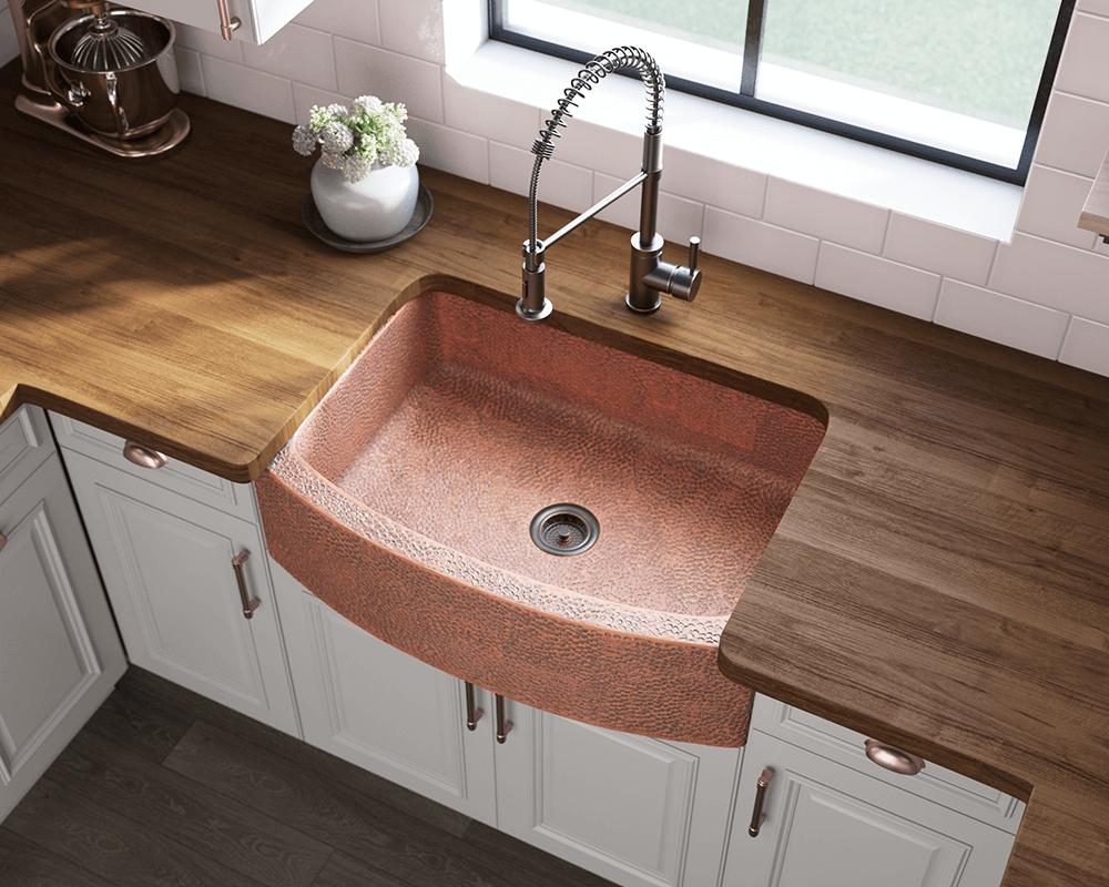 914 single bowl copper apron sink