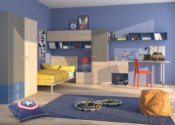 Синяя детская комната. Фото и дизайн Mr.Doors