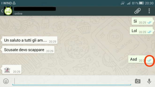 20141106 82726 whatsappletto - WhatsApp, arriva la doppia spunta blu: ecco a cosa serve