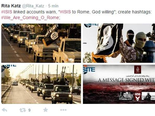 isis roma kZwG U43060749336817ncD 1224x916@Corriere Web Sezioni 593x443 - Site rivela: Isis lancia un nuovo hashtag: «Stiamo arrivando a Roma»