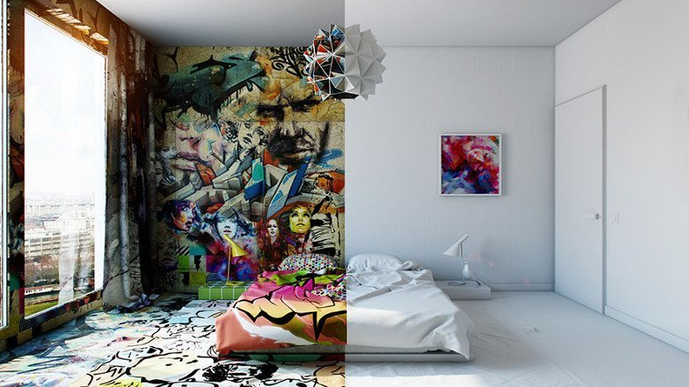 hotel room half graffiti street art pavel vetrov ukraine 1 - Stanza d'albergo in due mondi