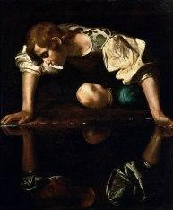 1200px Narcissus Caravaggio 1594 96 edited 320x387 - Narciso